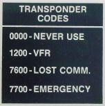 Transponder Codes Placard (2 1/4 in. x 2 1/4 in.)