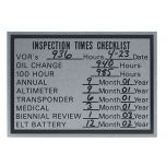 Inspection Times Checklist Placard (3 3/16 in. x 2 1/2 in.)