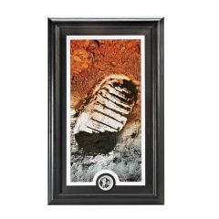 Framed Apollo 11 Moon Landing Footprint Print with Silver Collectors Coin
