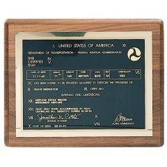 Commander Pilot's License Plaque