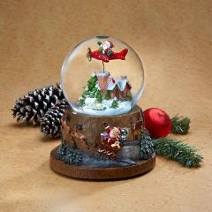 Musical Snow Globe with Flying Santa
