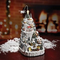 Fly-By Snowy Christmas Village Mountain