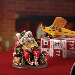Santa and Reindeer with Toy Airplane Display
