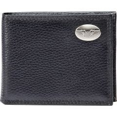 Pilot Wings Medallion Black Leather Wallet
