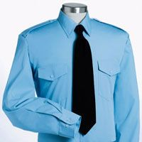 Men's Blue Long Sleeve Shirt (with Flap Pockets)