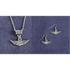 Pilot Wings Necklace and Earrings Set