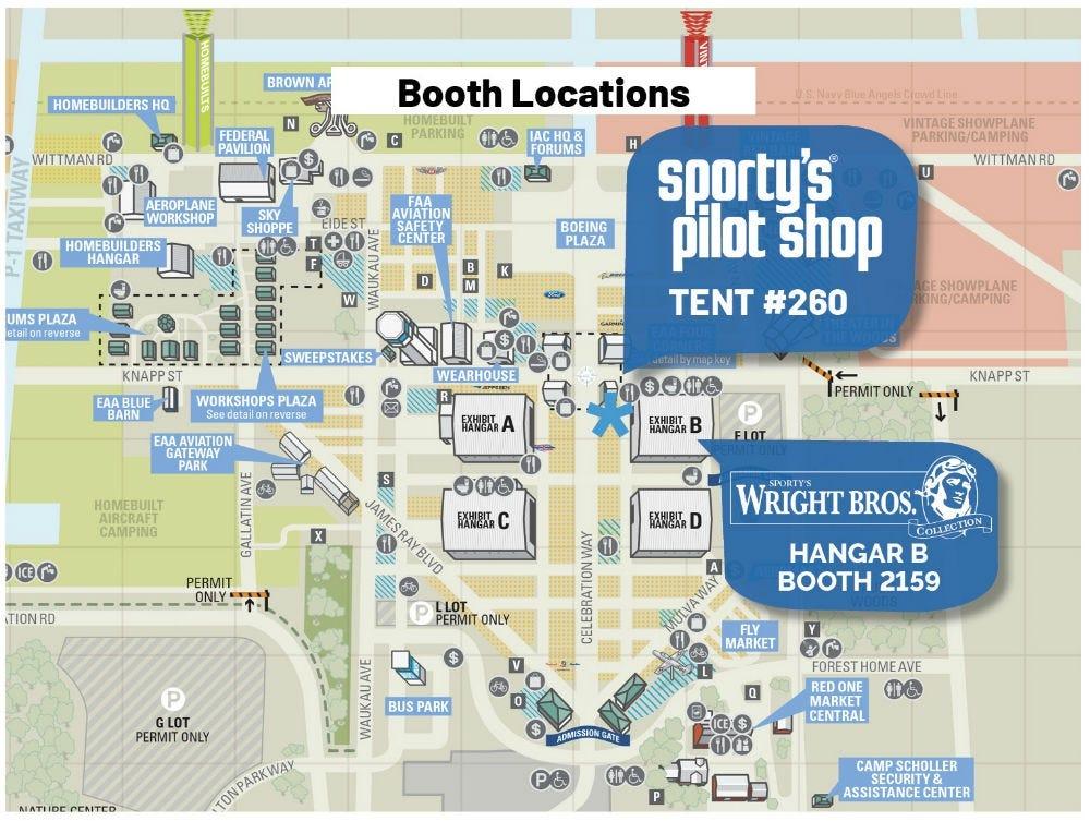 Sporty's Oshkosh tent location