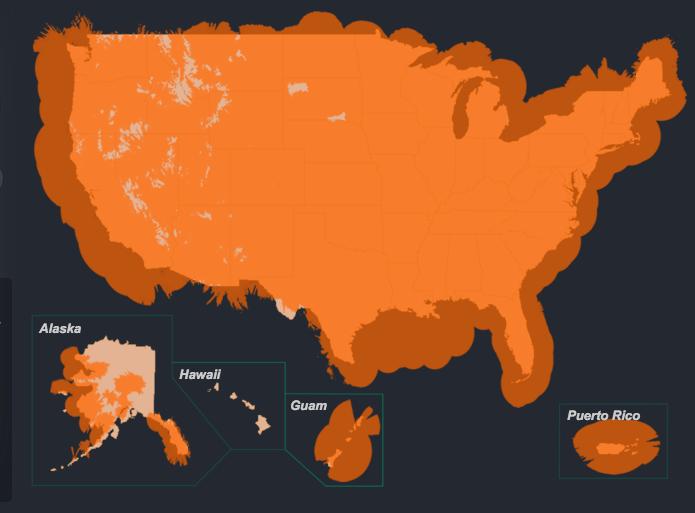 ADS-B coverage map