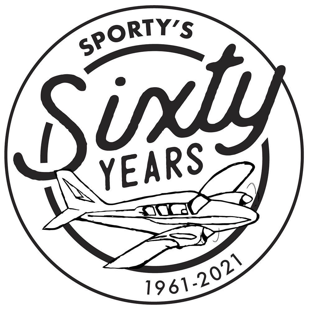 Sporty's 60 years logo