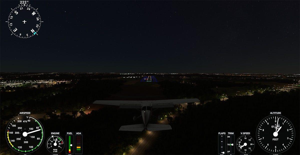 Night flight simulator