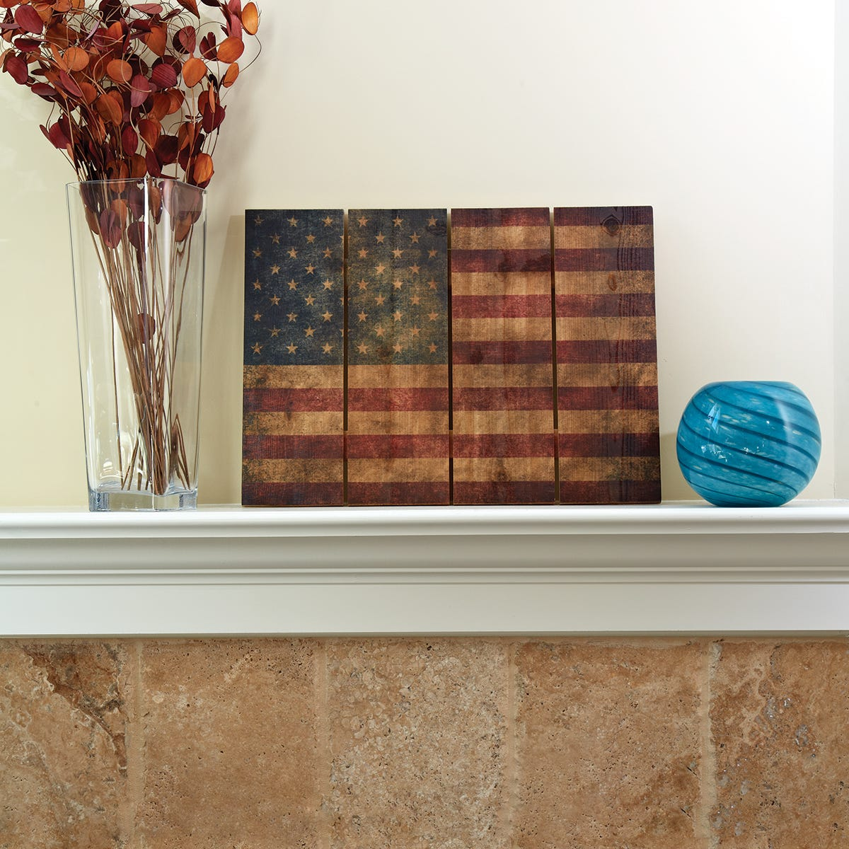 "Wood American Flag Wall Art wooden american flag wall art (33"" x 24"") - from sporty's tool shop"