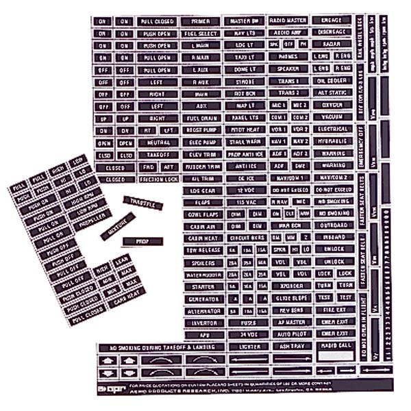 Instrument Panel Placard Set
