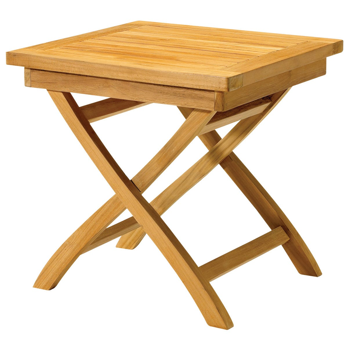 Outdoor teak folding side table from sportys preferred for Teak side table outdoor