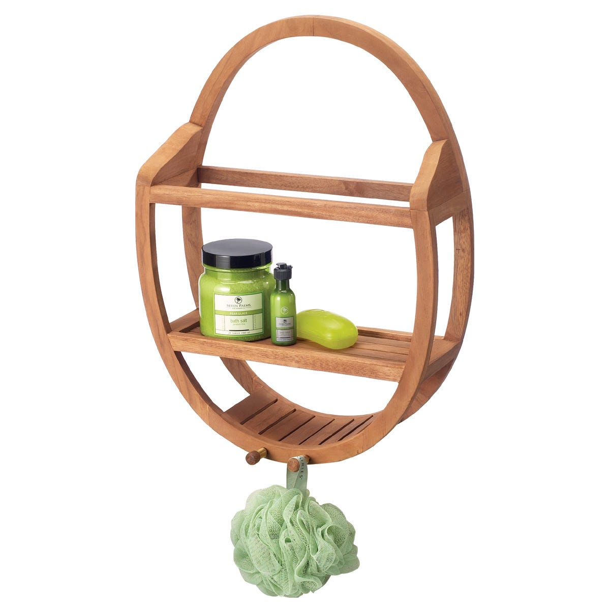 Oval Teak Shower Organizer - from Sporty\'s Tool Shop