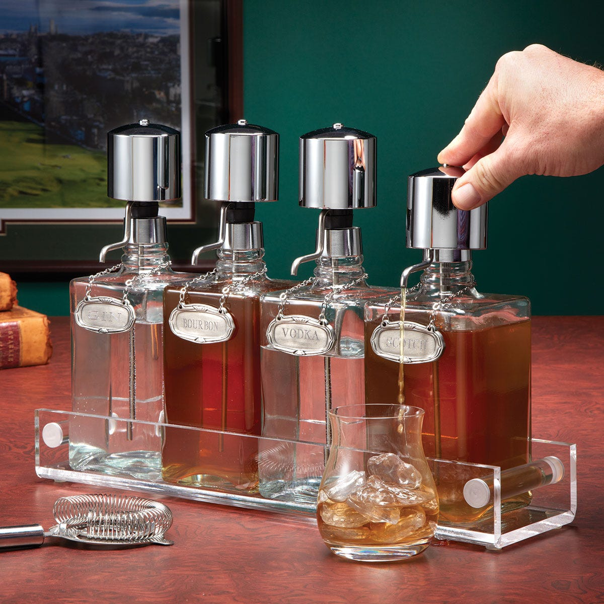 Pump Decanter Set From Sportys Preferred Living