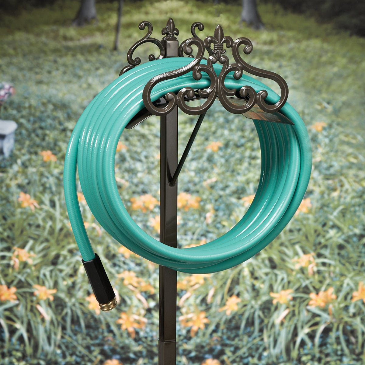 garden stand the p decorative chickadee oracle hiders decor reels cart reel butler holders page holder hose pots
