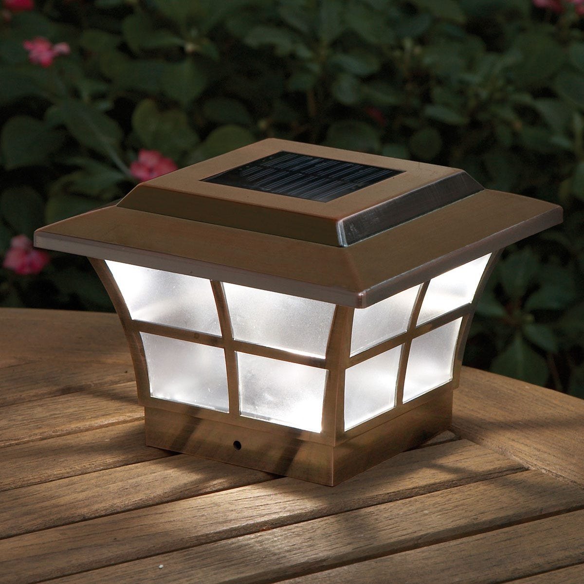 Prestige Solar Lighted Post Caps Copper From Sportys