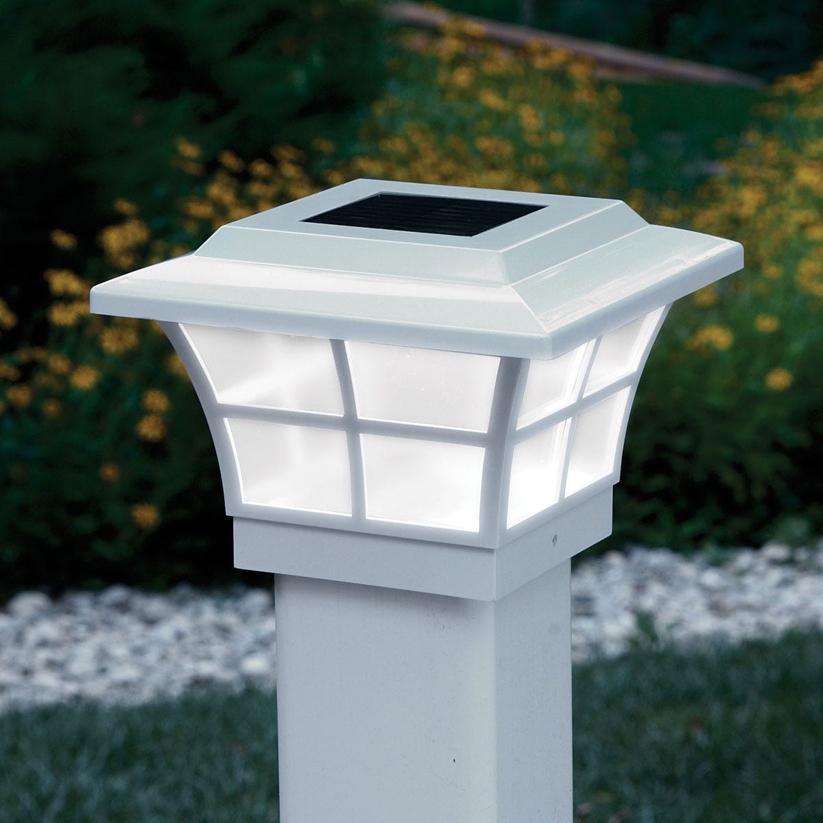 Prestige Solar Powered Lighted Post Caps White