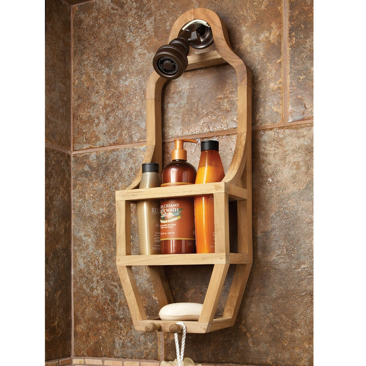 Teak Slim Shower Organizer - from Sportys Preferred Living