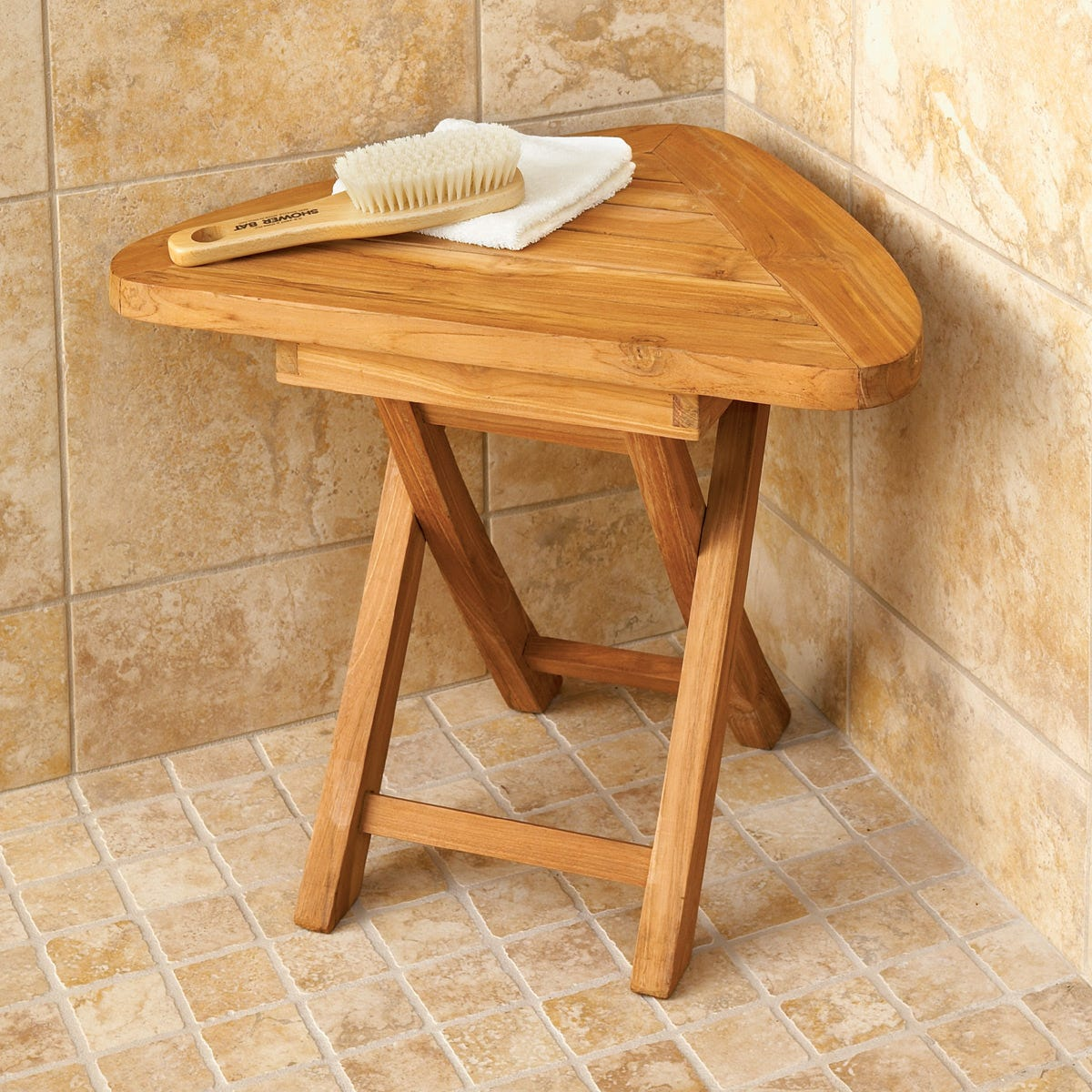 Teak Corner Bath Stool - from Sporty\'s Wright Bros Collection