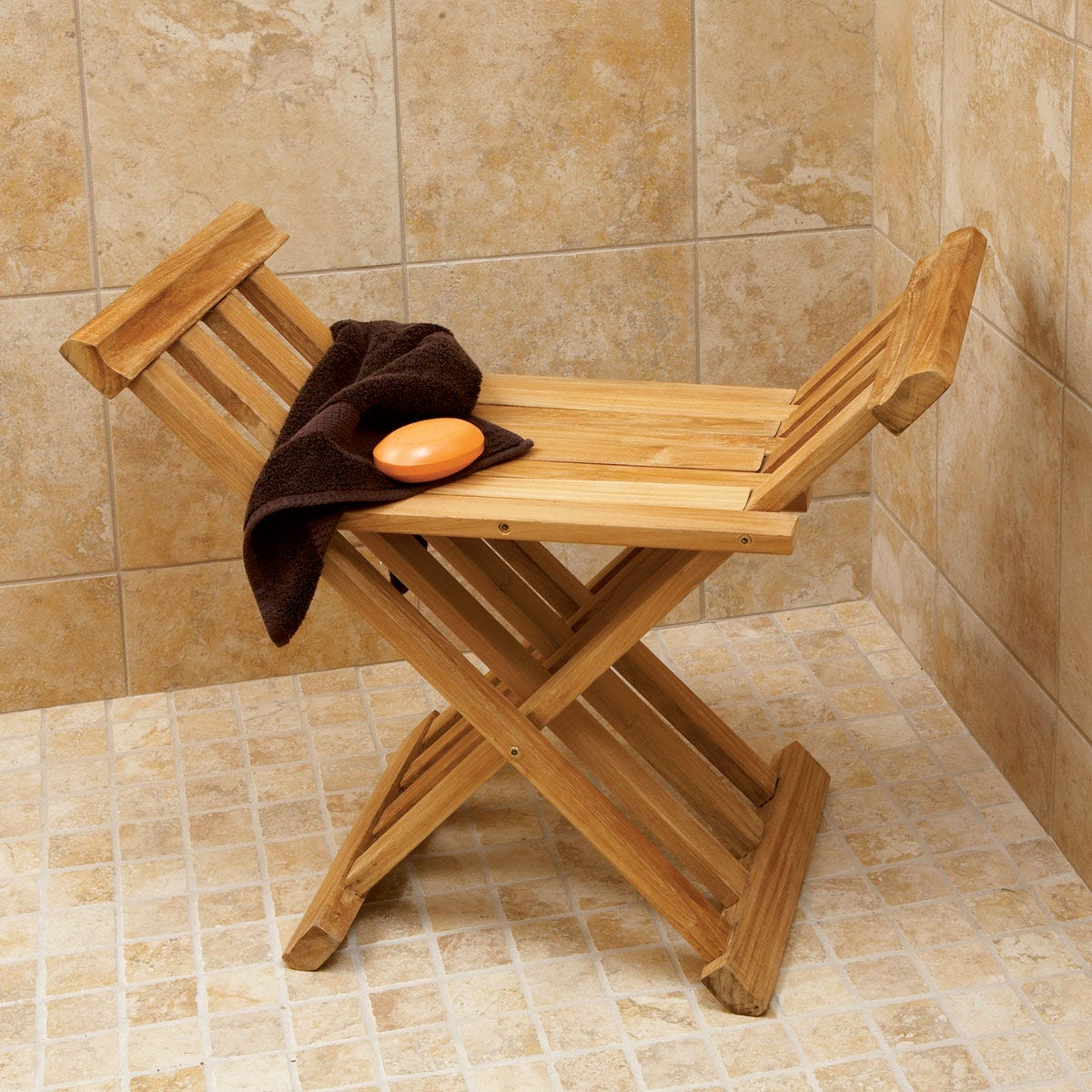 Deluxe Teak Bath Stool From Sportys Preferred Living