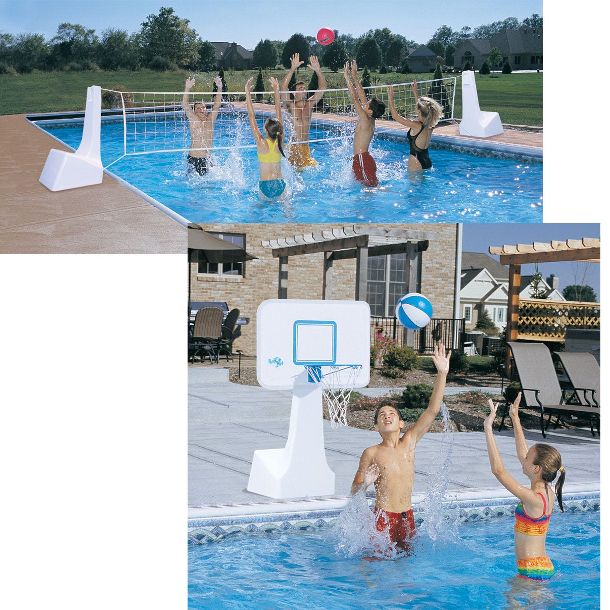 Pool volleyball basketball combo game pool recreation for Pool game show