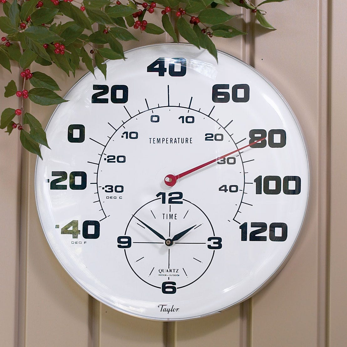 giant outdoor thermometer clock  from sporty's tool shop - more photos
