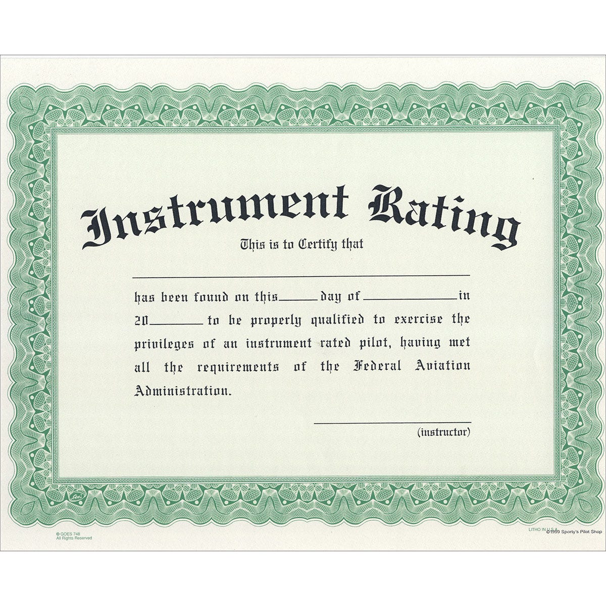 Instrument Rating Certificate Pilot Awards Gifts And Models
