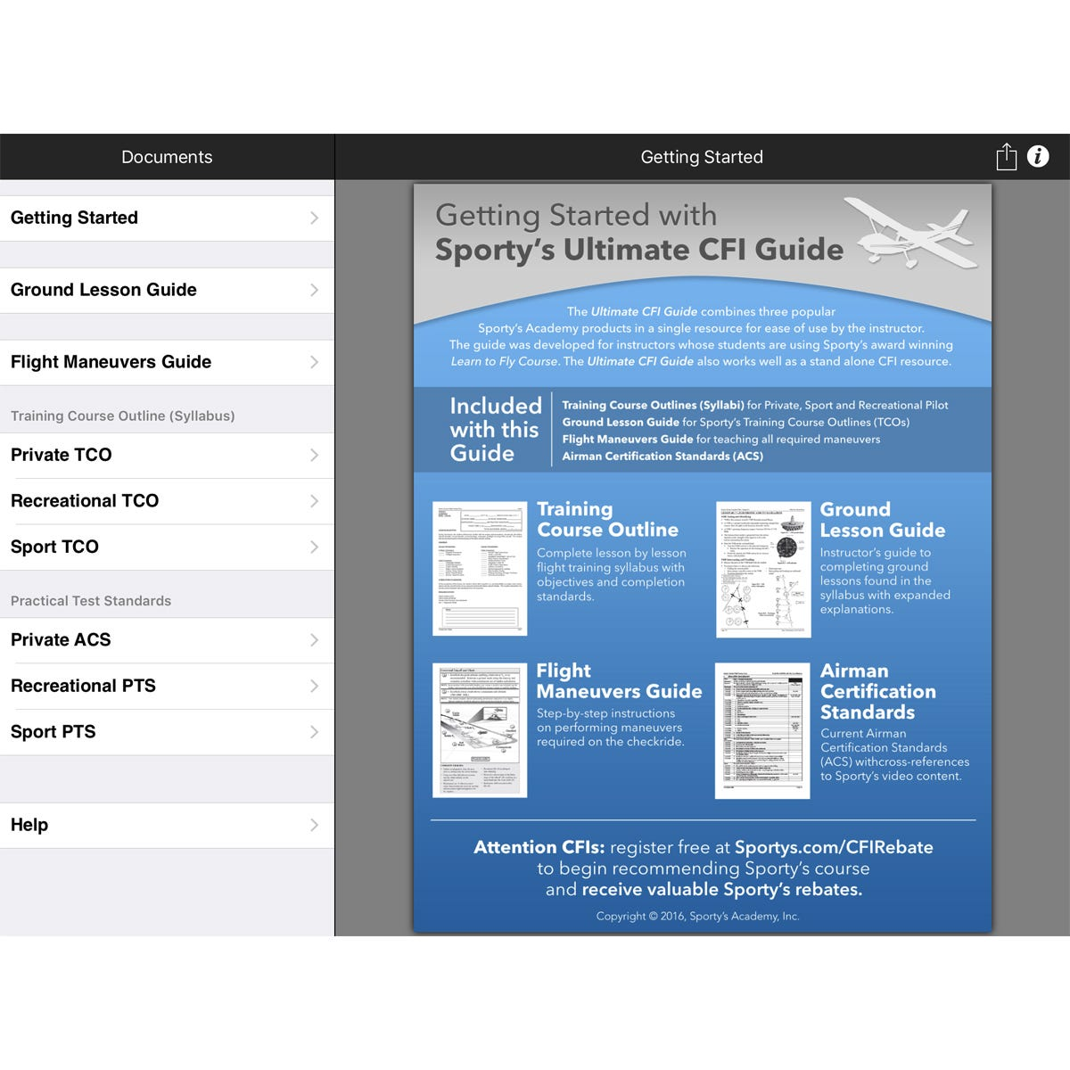 Sporty 39 s ultimate cfi lesson plan guide ipad iphone app for Cfi lesson plan template