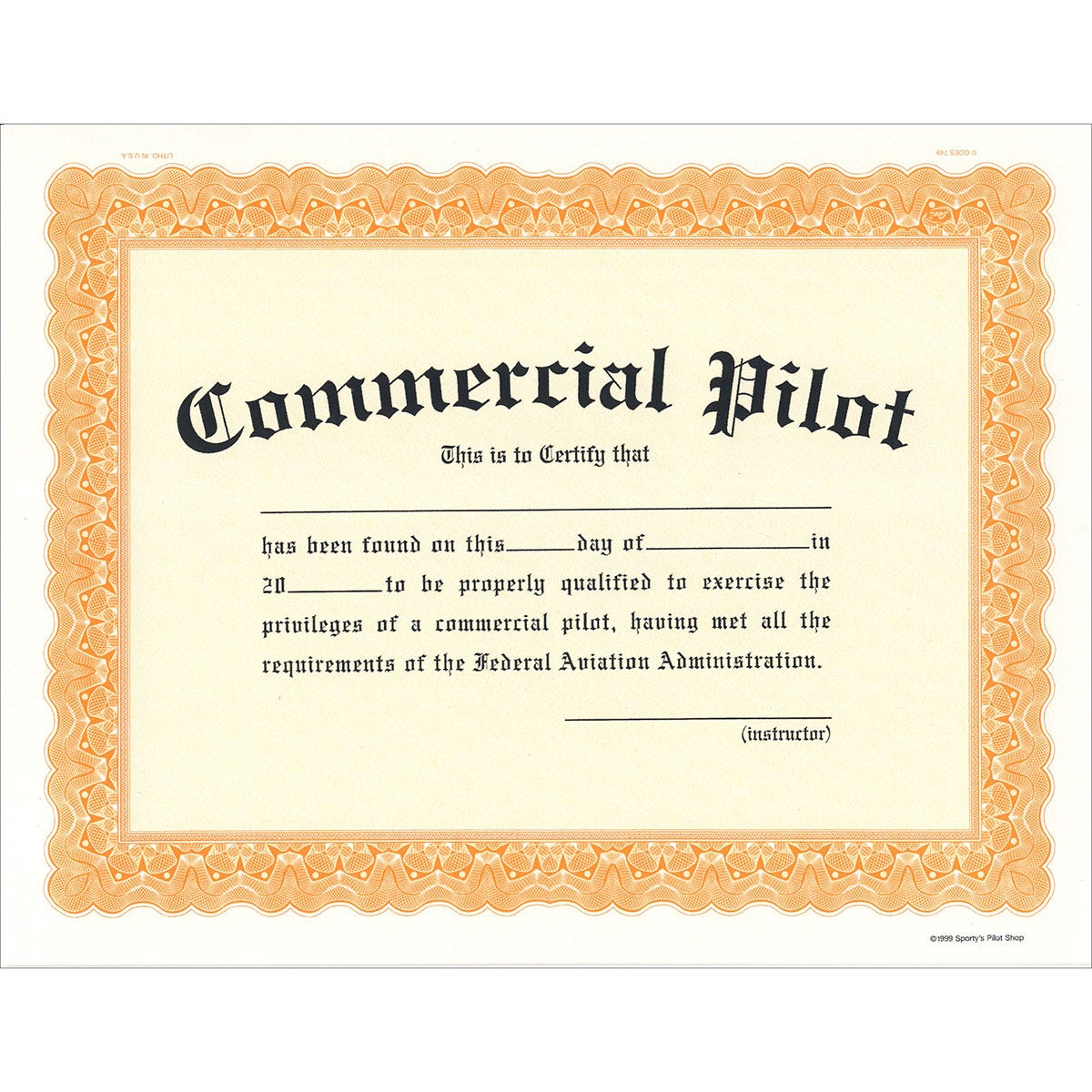 Commercial Pilot Certificate - from Sporty\'s Pilot Shop