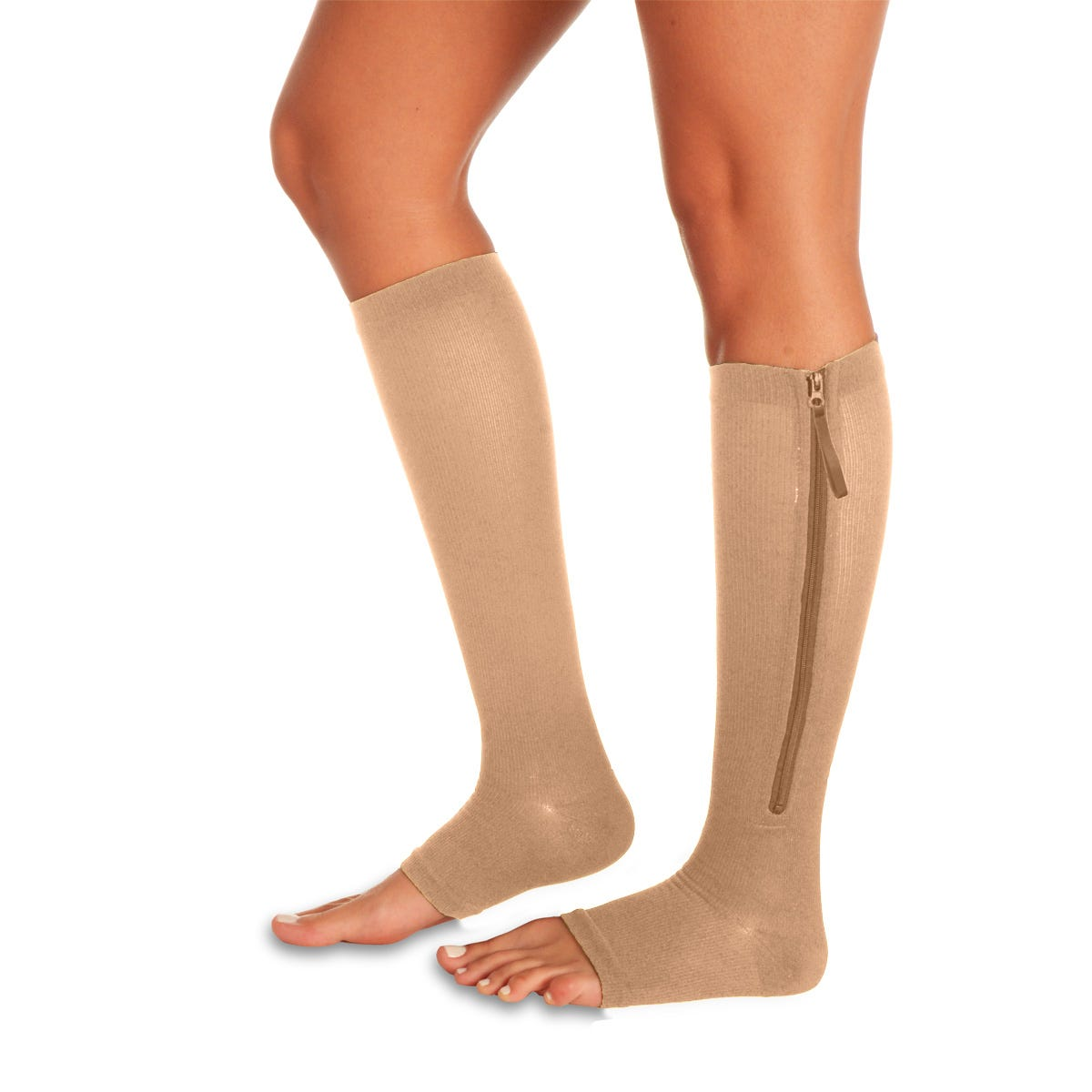Zippered Day or Night Easy On Compression Support Sock//Stockings With Open Toes