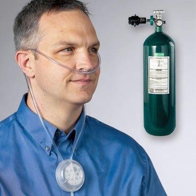 Cylinder 4-Place Cannula Oxygen System  4 Nasal Cannulas - 1 MaskOxygen Tank And Cannula
