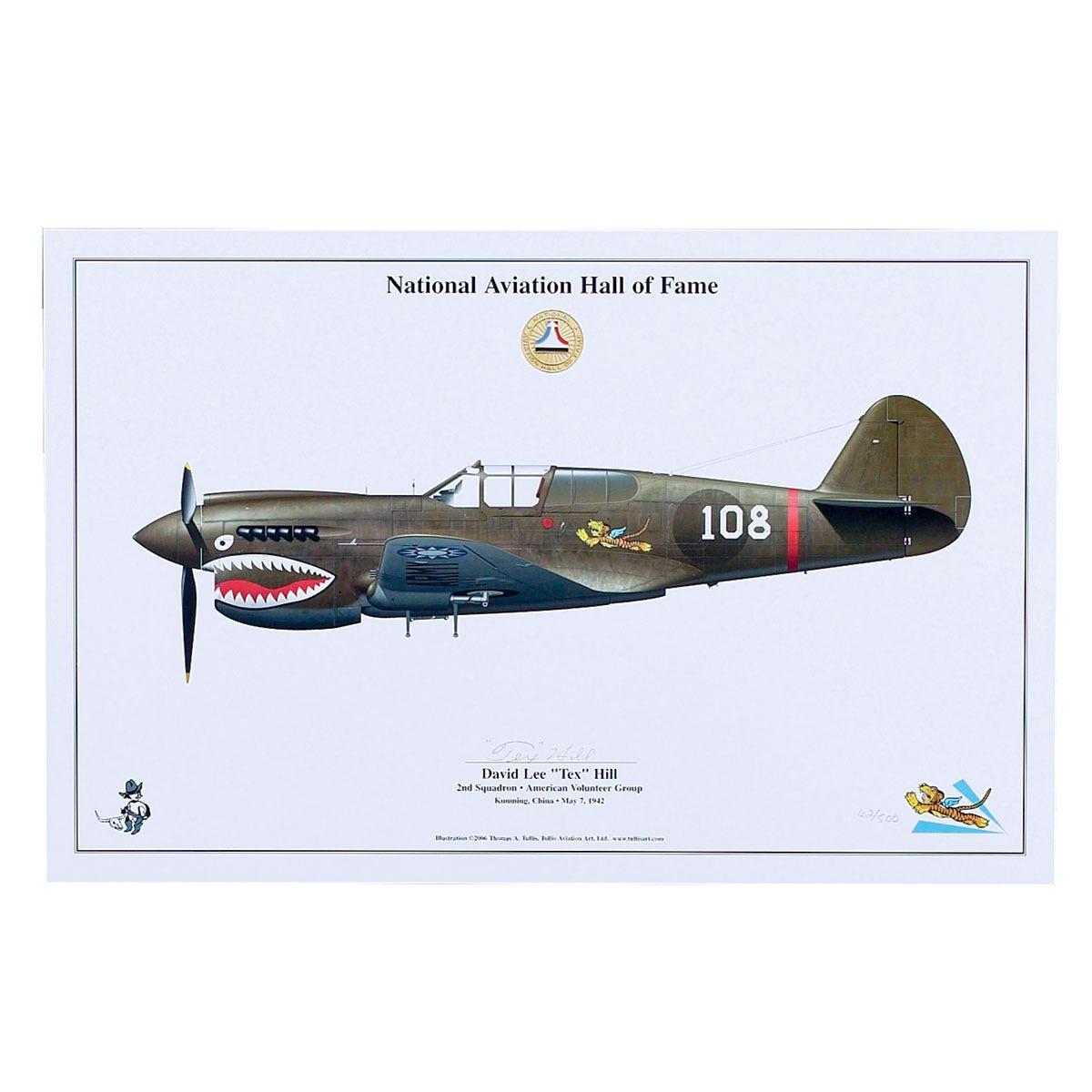 limited edition signed aircraft print tex hill p 40 warhawk