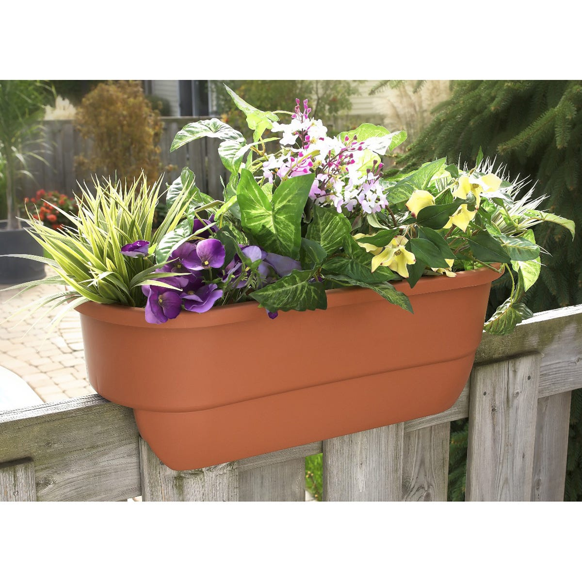 deck rail planter from sporty 39 s tool shop. Black Bedroom Furniture Sets. Home Design Ideas