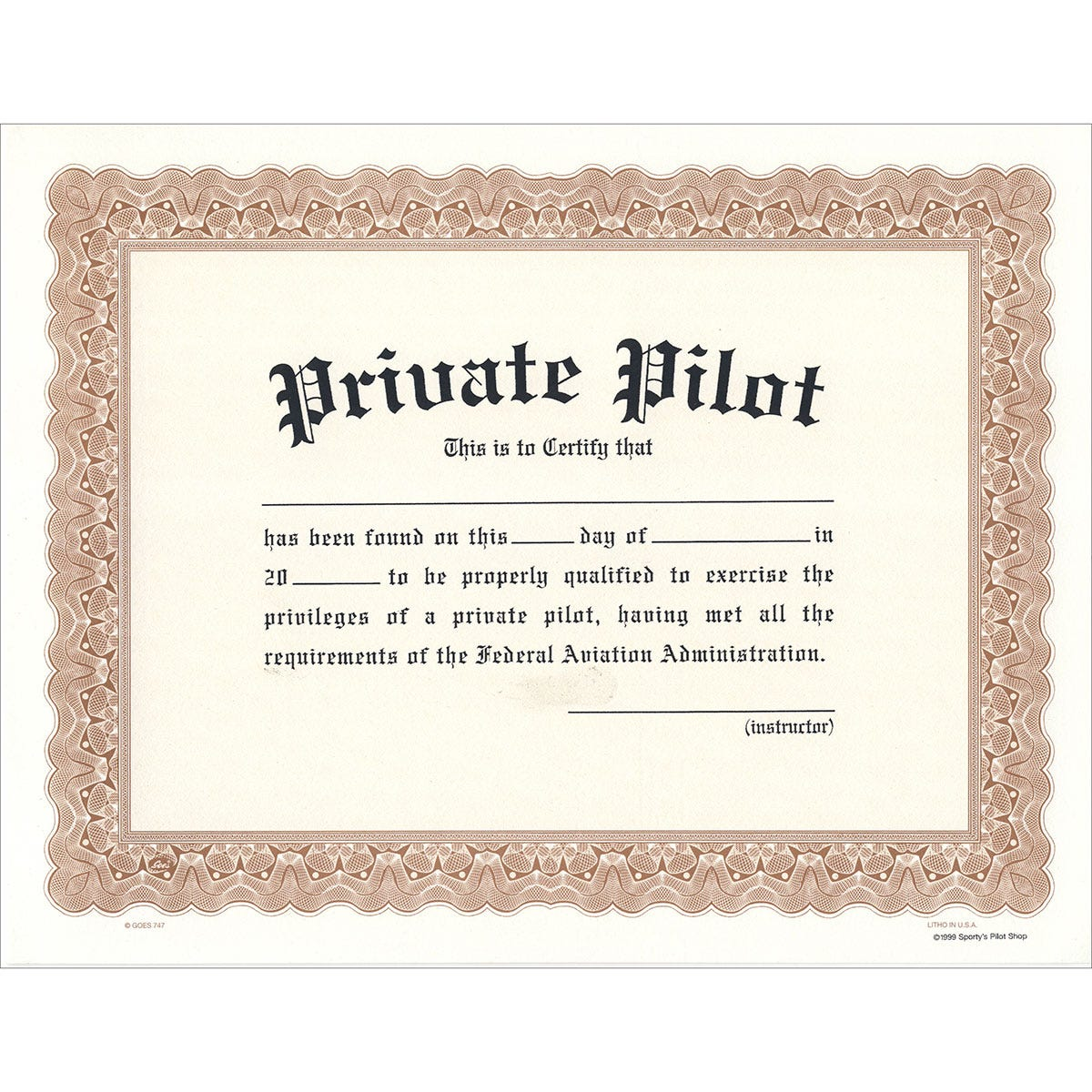 Private Pilot Certificate From Sporty S Pilot Shop