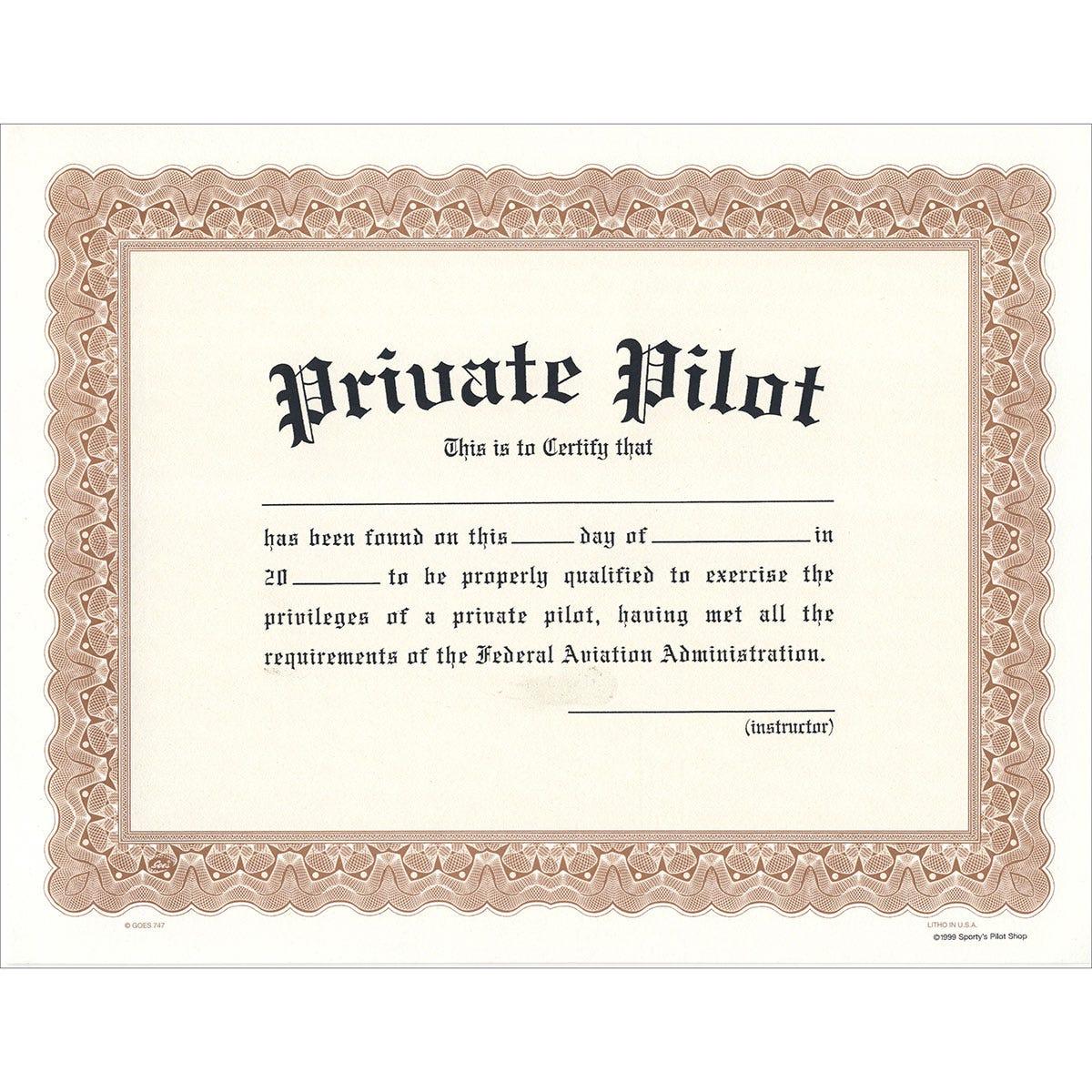 private pilot certificate sportys