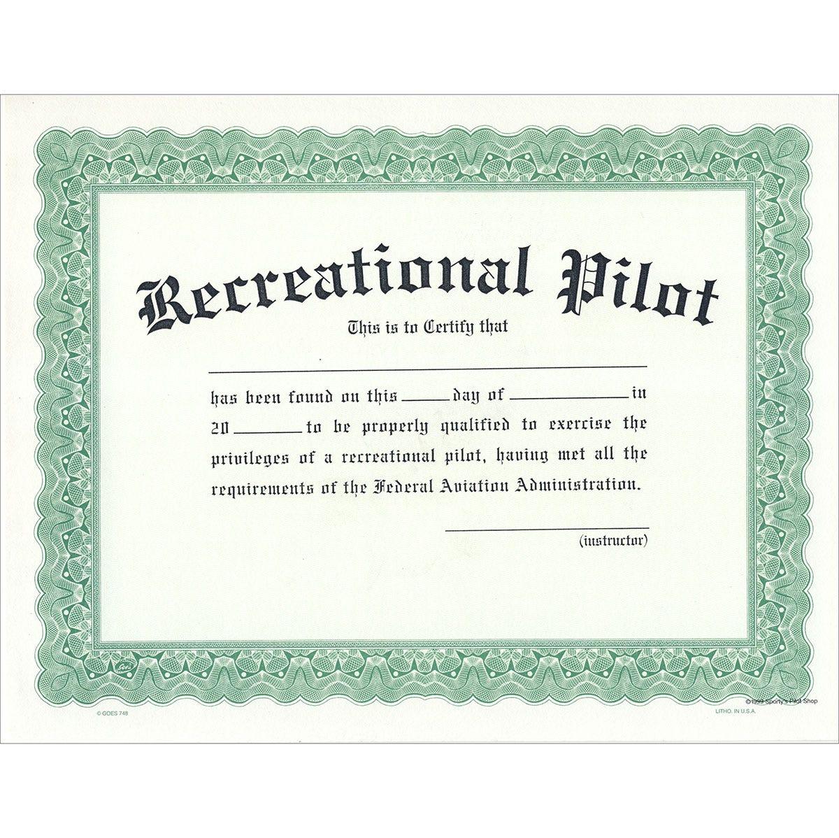 recreational pilot certificate sportys