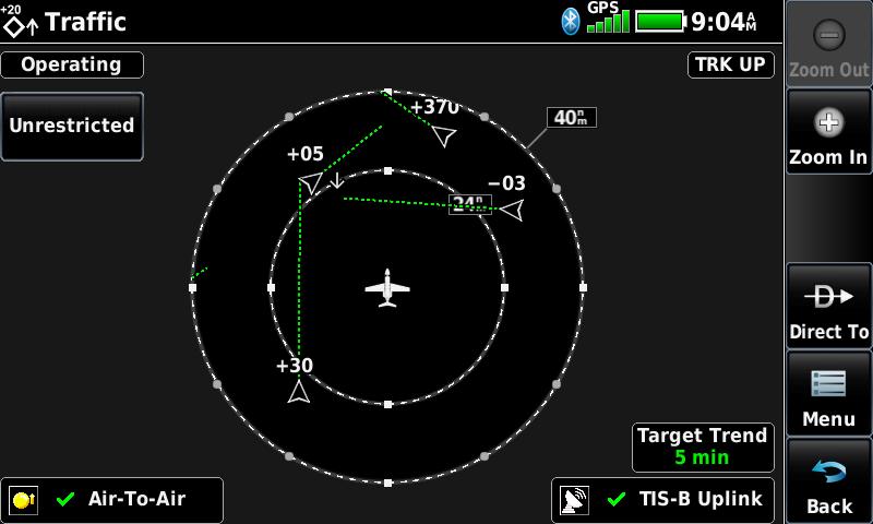 Garmin aera 760 traffic screen