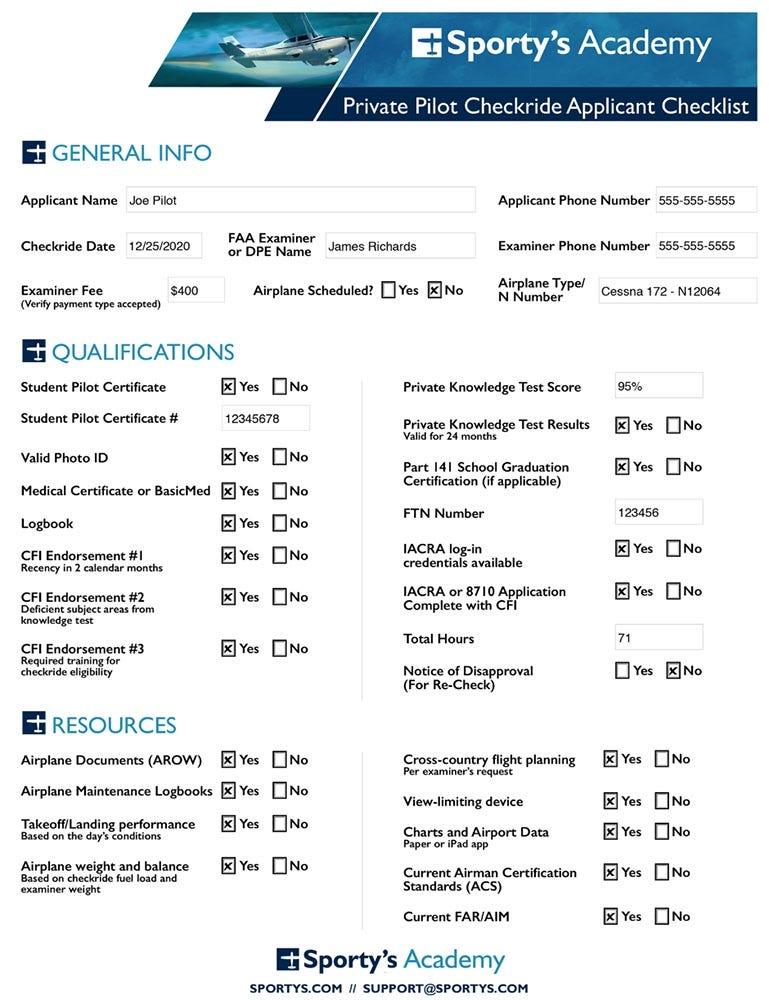Checkride checklist