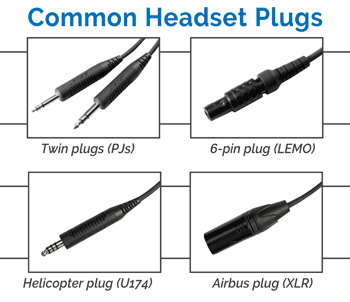 Aviation headset plug types