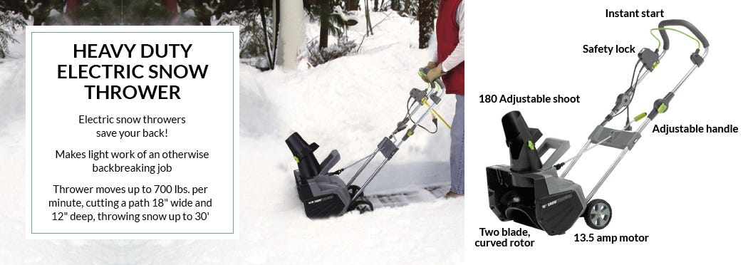 Heavy Duty Electric Snow Thrower