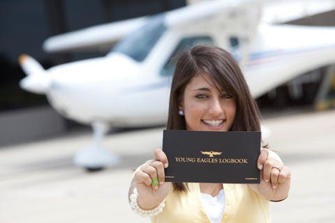 Young eagle with logbook