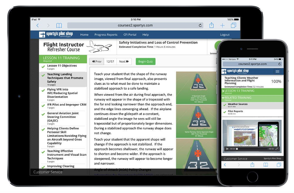 Sporty's Flight Instructor Revalidation Course on iPad and iPhone